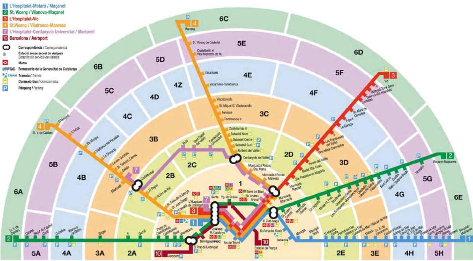 Карта зон метро Барселоны